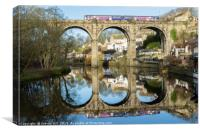 Train Travelling Across a Railway Viaduct.  , Canvas Print