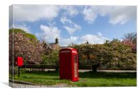 Small Rural Post Box Next to a Red Phone Box., Canvas Print