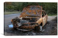 BURNT OUT CAR AT THE ROADSIDE, Canvas Print