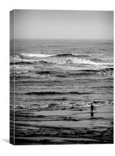 Coast - Lone fisher at Whitley Bay beach. , Canvas Print