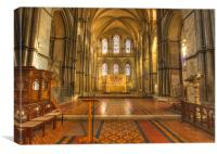 Rochester Cathedral interior HDR., Canvas Print