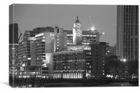 Night view of the Oxo Tower BW, Canvas Print