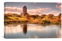 Smailholm Tower and Pond, Canvas Print