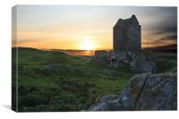 Smailholm Tower Sunset, Canvas Print