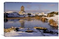 Smailholm Tower in the Snow 2, Canvas Print