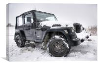 Jeep in the Snow, Canvas Print