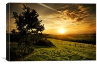Sunset over the South Downs, Canvas Print