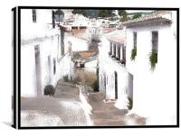 A Typical Spanish Street Framed, Canvas Print