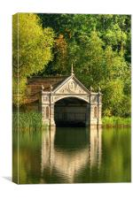 Tranquil Boathouse, Burghley House, Canvas Print