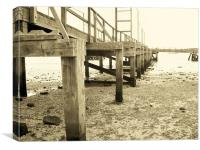 Sepia wooden pier, Canvas Print
