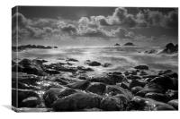 Cape Cornwall in Black and White, Canvas Print