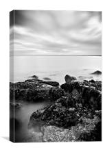 Totland Bay, Isle Of Wight, Black and White, Canvas Print
