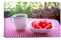 Breakfast served outdoors , Canvas Print