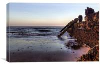 Withernsea Groynes at Sunset, Canvas Print