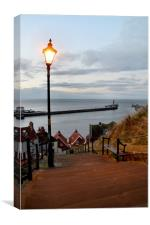 Whitby Steps Blue Hour, Canvas Print