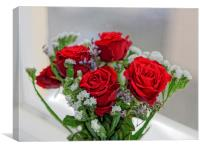 Bouquet of red roses with white carnations, Canvas Print