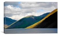 Lingmell and The Screes descend into Wastwater., Canvas Print
