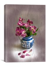 Pink Flowers and Blue Jug, Canvas Print