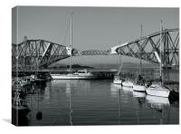 Forth Railbridge and Harbour Boats, Canvas Print