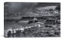 Ballycastle waves (mono), Canvas Print