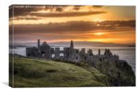 the day ends at Dunluce Castle, Canvas Print