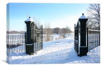 The Gates to a frozen Lurgan Park, County Armagh, Canvas Print