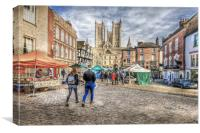 Lincoln Market and Cathedral, Canvas Print