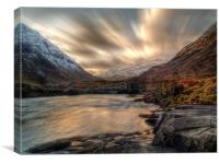 Dusk On The River Etive., Canvas Print