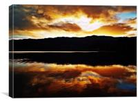 Sunset Reflections Over Loch Achray, Canvas Print