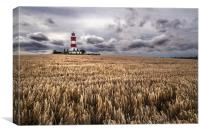 Happisburgh Lighthouse at harvest time, Canvas Print