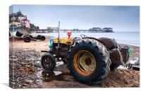 Tractor on Cromer Beach, Canvas Print