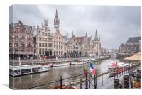 Riveside at Ghent in Belgium, Canvas Print