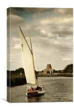 Up river to St Benets Abbey, Canvas Print
