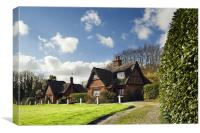 Thatched cottages on Woodbastwick  Village Green, Canvas Print