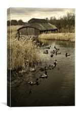 Thatched Boat House, Canvas Print