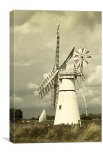 Thurne mill with a passing yacht, Canvas Print