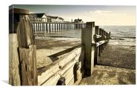 Southwold pier and Groynes, Canvas Print