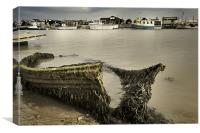 An old boat on the River Blyth facing Southwold, Canvas Print