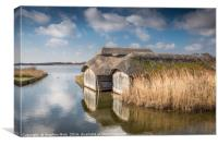 Thatched Boathouses at Hickling Broad, Canvas Print