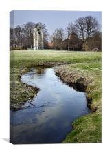 Walsingham Abbey and stream, Canvas Print