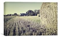 Hay Bales over Ormesby St. Michael church, Canvas Print