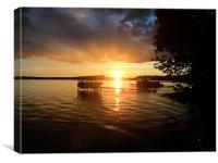 Sunset over Long Lake Maine, Canvas Print