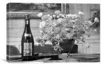 Champagne and flowers, Canvas Print