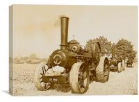 Traction Engine in Sepia, Canvas Print