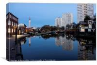 Reflections on the Birmingham and Fazeley Canal , Canvas Print