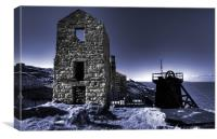 Levant tin mine in blue, Canvas Print
