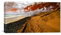 Beach under a blood red sky, Canvas Print