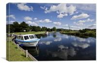 Moored at Coltishall Common, Canvas Print
