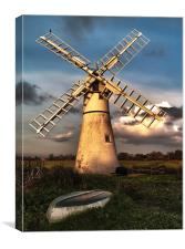 Thurne Windmill at sunset HDR, Canvas Print