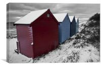 Winter Beach Huts with Selective colour, Canvas Print